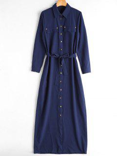 Belted Single Breasted Maxi Shirt Dress - Blue L