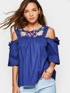 Floral Embroidered Bowknot Cold Shoulder Blouse - Blue
