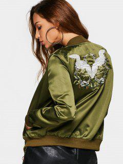 Bird Embroiderd Zip Up Souvenir Jacket - Army Green M