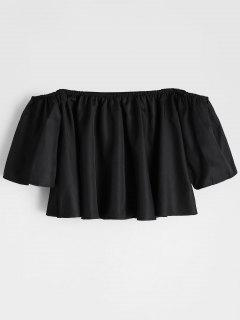 Flare Sleeve Off The Shoulder Cropped Blouse - Noir M