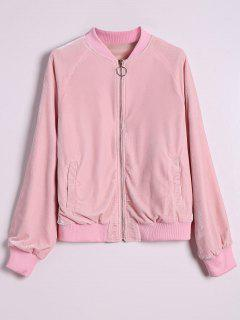 Velvet Zip Up Pilot Jacket - Pink L