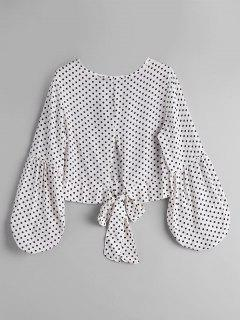 Bow Tied Polka Dot Blouse - White And Black L
