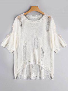 Camiseta Tejida Rasgada Alta Baja - Blanco