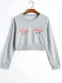 Floral Patchwork Cropped Sweatshirt - Gray S