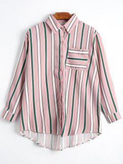 Button Up Pocket Striped Longline Shirt - Pink