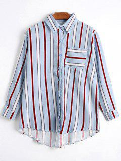 Button Up Pocket Striped Longline Shirt - Light Blue