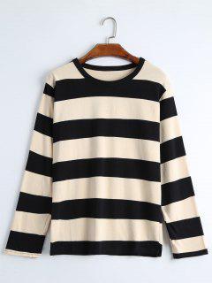 Round Collar Long Sleeve Striped  Tee - Black