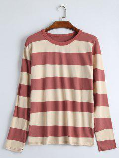 Round Collar Long Sleeve Striped  Tee - Russet-red