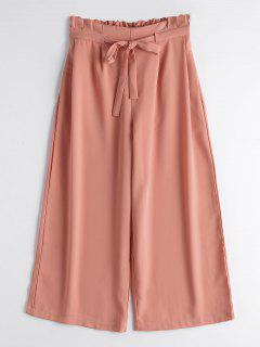 Drawstring Ninth Wide Leg Pants - Orangepink L