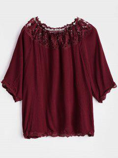 Off The Shoulder Hollow Out Blouse - Rouge Foncé S