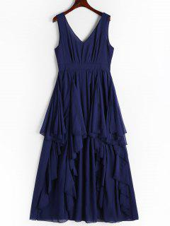 Plunging Neck Open Back Tiered Dress - Cerulean S