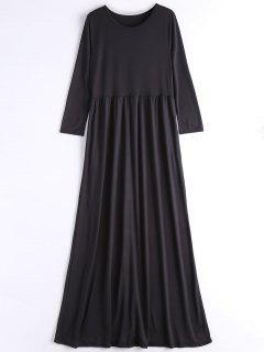 Langes Hülsen Beiläufiges Maxi Kleid - Schwarz Xl