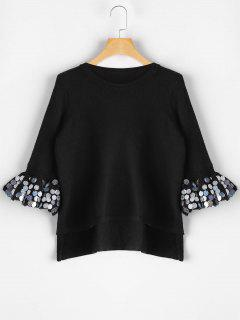 Sequined Flare Sleeve High Low Sweater - Black