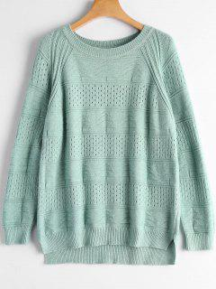 Hollow Out Crew Neck Sweater - Light Green