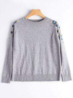 Crew Neck Floral Embroidered Sweater - Gray
