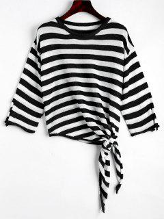 Open Sleeve Bow Tied Stripes Sweater - Black