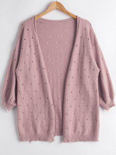 Hollow Out Lantern Sleeve Cardigan - Light Pink