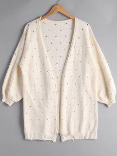 Hollow Out Lantern Sleeve Cardigan - Beige