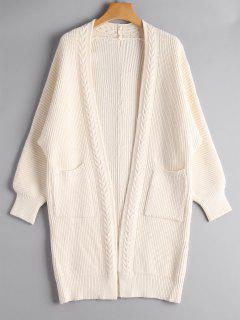 Open Front Long Cardigan With Pockets - Off-white