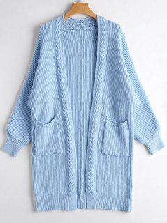 Open Front Long Cardigan With Pockets - Light Blue