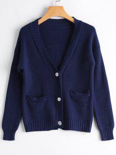 Drop Shoulder Button Up Pockets Cardigan - Deep Blue
