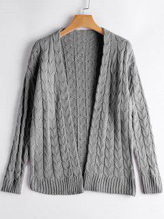 Drop Shoulder Cable Knit Cardigan - Gray