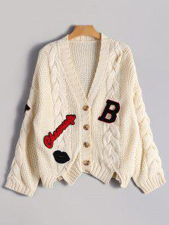 Patchwork Button Up Cable Knit Cardigan - Beige