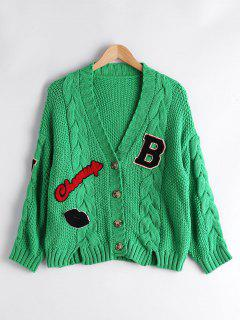 Patchwork Button Up Cable Knit Cardigan - Green