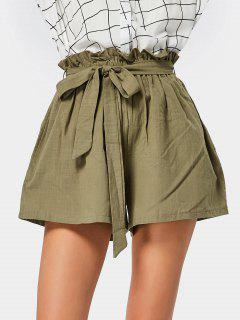 Smocked High Waist Belted Shorts - Army Green
