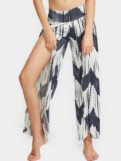High Slit Printed High Waist Pants - Multi L