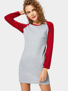 Raglan Sleeve Ribbed Knitted Dress - Deep Red M