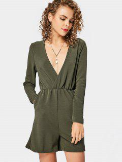 Plunging Neck Pockets Long Sleeve Romper - Army Green S
