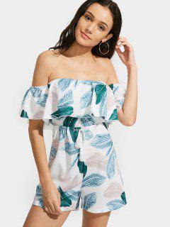 Feuilles Imprimer Off The Shoulder Flounce Romper - Multi L
