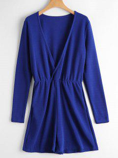 Plunging Neck Pockets Long Sleeve Romper - Blue S