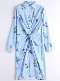 Long Sleeve Floral Stripes Twist Shirt Dress - Stripe L