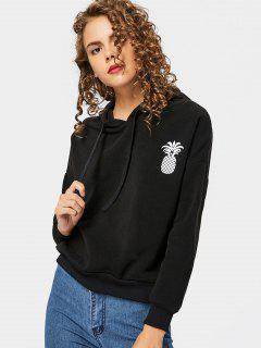 Drop Shoulder Pineapple Print Hoodie - Black