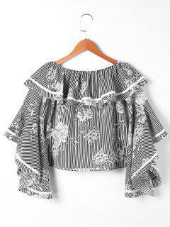 Striped And Floral Off The Shoulder Blouse - Black Stripe S
