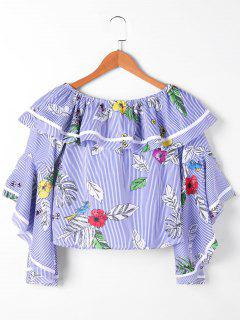 Floral Flounce Striped Crop Top - Blue And White S
