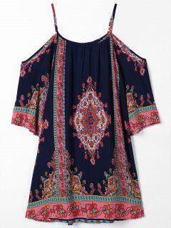 Cold Shoulder Paisley Beach Dress - Purplish Blue S