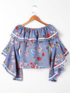 Floral Ruffle Aus Der Schulter Bluse - Blau & Weiß S