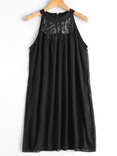 Double Layered Lace Panel Trapeze Dress - Black M