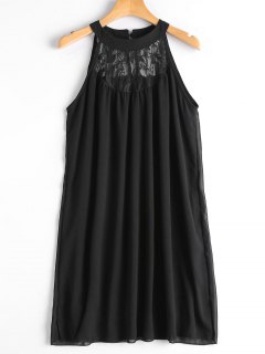 Double Layered Lace Panel Trapeze Dress - Black L