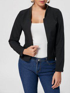 Collarless Cropped Blazer - Black L