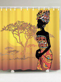 Afrikanische Dame Bedruckt Wasserdichte Duschvorhang - W79 Zoll * L71 Zoll