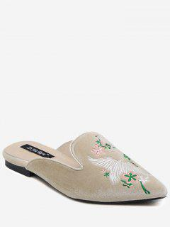 Velvet Embroidered Pointed Toe Slippers - Apricot 38