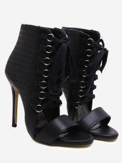 Woven Pattern Tie Up Faux Leather Sandals - Black 40