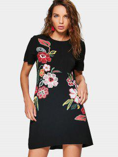 Short Sleeve Floral Mini Dress - Black M