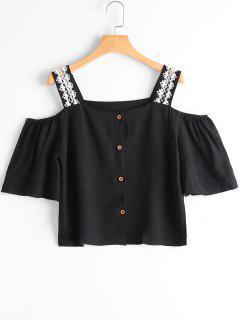 Square Neck Cold Shoulder Blouse - Black