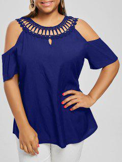 Cold Shoulder Lace Panel Plus Size Blouse - Blue Xl