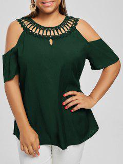 Cold Shoulder Lace Panel Plus Size Blouse - Blackish Green 2xl